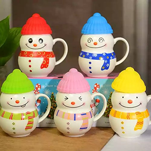 Satyam Kraft Ceramic SNOW MAN mug with silicon cap(1 PIECE) for kids mug 300 ML Christmas mug|snow man mug|coffee mug|printed mug|mug|gift for new year|gift for birthday|gift|Christmas gift idea|gift for friend|gift for love one|ceramic mug(RANDOM COLOUR)