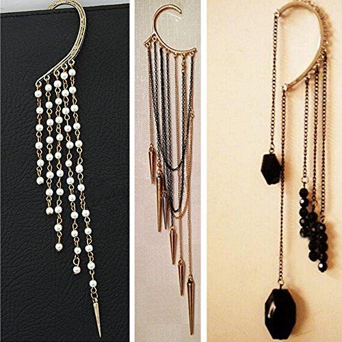 Spritech(TM) 3Pcs Women's Girls Fashion Personality Dark Gem Beads Tassels Earrings Rivet Punk Ear Bones Pearl Tassel Fake Earrings by Spritech