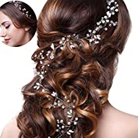 CosCosX Crystals Bridal Wedding Headband, Hair Vine and Headpiece Floral Hair Accessories 47.9 inches