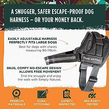 Harnais pour Chien par Simply Natural Harnais pour Chien Taille L avec Fermetures à Scratchs conçu pour empêcher l'Animal de s'échapper