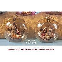 Bola de cristal abierta con representación del Belén de resina en su interior - Accesorio ideal