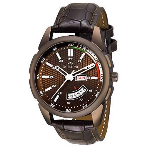 Swisstone OCTAN325-BRWN Brown Leather Strap Wrist ...