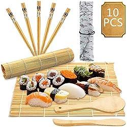 BESTZY 10PCS Sushi Set- Set per Sushi per Principianti (2 tappetini per sushi in bambù + 1 spargisale + 1 pagaia Paddy + 5 bastoncini + 1 Sacco)