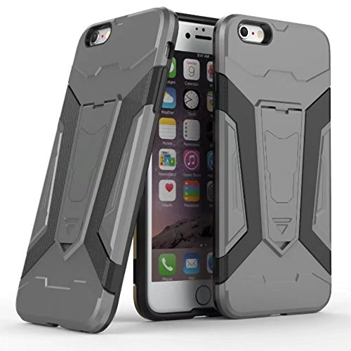 UKDANDANWEI Apple iPhone 6s PLUS Hülle, 【Armor Man】Hybrid Armour Tough Stil Dual LayerDefender PC Bumper Handyhülle Cases mit Ständer [stoßfest Fall] für Apple iPhone 6s PLUS - Rot Grau