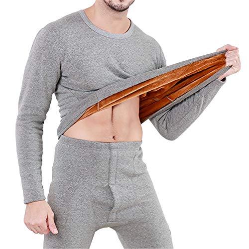 Godgets set canottiera & pantaloni intimo termico elasticizzato foderato a lana da uomo grigio chiaro l