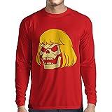 N4411L Camiseta de Manga Larga Blonde Skull (Small Rojo