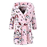 UJUNAOR Kinder-Bandage Bademantel mit Kapuze für 1-8Y Kinder Mode Frühling Drucken Nachthemd(Rosa,CN 110)