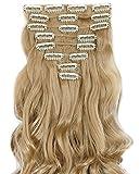 S-noilite 17' (43 cm) extensiones de cabello cabeza completa clip en extensiones de pelo Ombre ondulado rizado - Rubio ceniza