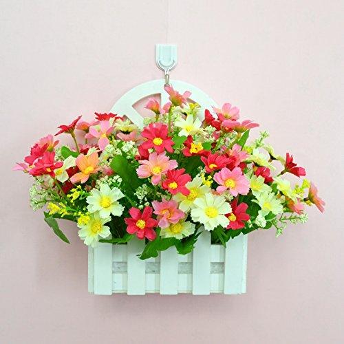 ALLDOLWEGE Personnalisé simple émulation menuiserie plastique en pot en pot pot de fleurs d'émulation de dans le mur lumière jardin exquis decorationThatThe kit poudre blanche +Hook