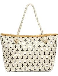 CASPAR TS1022 Grand sac à main en toile Canvas pour la plage - Sac shopping avec imprimé ancres