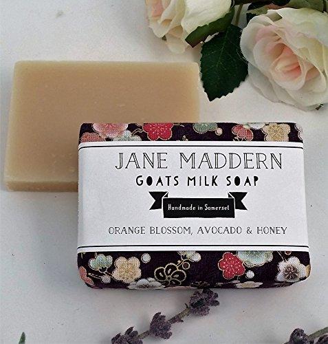 Jane Giuseppe marra Fatto a mano Le Capre Latte Sapone 90g (Fiore D'arancio, Avocado e miele), Prodotto in Somerset, Inghilterra