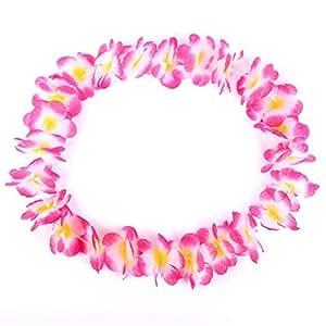 S/O Collana di fiori deluxe, fiori doppi rosa, bianchi, gialli, collana hawaiana (0410), confezione da 10