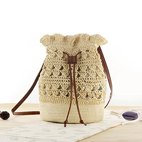 onemoret Frauen Crochet Eimer Tasche Fashion Boho Sommer Strand Stroh Handtasche Damen Crossbody Tasche mit Kordelzug weiblich Schulter Beach Tragetaschen 2018 beige -