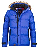 Geographical Norway Herren Winterjacke Parka Beteavon abnehmbare Fellkapuze royal blue L