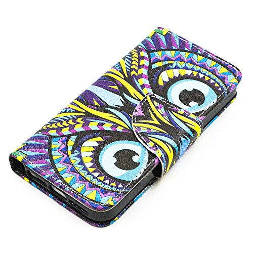 Più colorate Ancerson in pelle PU Flip Custodia per cellulare per Apple iPhone 5/5S/5G in pittura ad olio Stil Colorful Painting Custodia Flip Case Custodia in similpelle custodia per cellulare con fu gufo