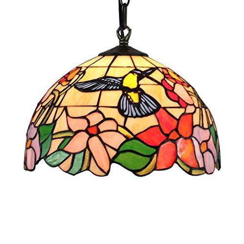 12-Zoll-Tiffany-Stil Kronleuchter, Glasmalerei Lampenschirm Kronleuchter klassischen Kolibri Wohnzimmer dekorative Lampe Kronleuchter (E27) (Glasmalerei Lampenschirm)
