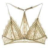FRDMBeauty Sexy Front Schließen Spitze Bralette Triangle Bikini Top Wireless BH Cute Dessous für Frauen Skin