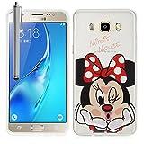VComp-Shop® Transparente Silikon TPU Handy Schutzhülle mit Motiv Cartoon Disney für Samsung Galaxy J5 (2016) + Großer Eingabestift - Minnie Mouse