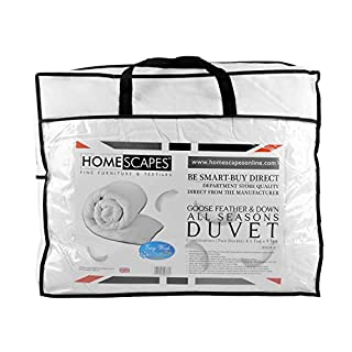 Homescapes Double All Seasons (9 Tog + 4.5 Tog) - Luxury White Goose Feather & Down Duvet - 100% Cotton Anti Dust Mite & Down Proof Fabric - Anti Allergen - Quilt