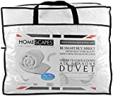 Homescapes Double All Seasons (9 Tog + 4.5 Tog) - Luxury White Goose Feather & Down Duvet - 100% Cotton Anti Dust Mite & Down Proof Fabric - Anti Allergen - Washable at Home Quilt