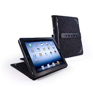 """Tuff-Luv natürliche hanf multi-view """"Stasis"""" Serie Hülle für Apple iPad 3 / 2 (HD / 2012 / (Retina)) - schwarz"""