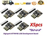 5pcs Digispark ATTINY85 General Micro USB Development BoardDESCRIPTION: The Digispark is an Attiny85 based microcontroller development board similar to the line, only cheaper, smaller, and a bit less powerful. With a whole host of shields to ...