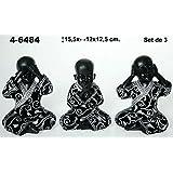 DonRegaloWeb - Set de 3 figuras de resina de niños buda en color negro con traje plata y negro
