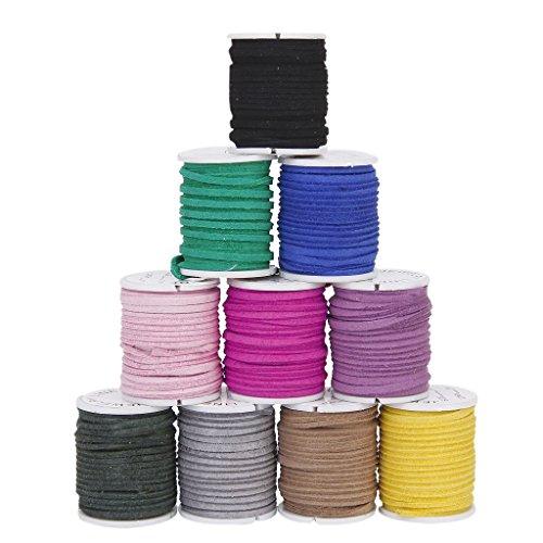 SODIAL (R) 10 rotoli di filo velluto morbido in colore misto Corea cavo 3 millimetri per la collana DIY