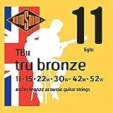 Rotosound Tru Bronze Jeu de cordes pour guitare folk 80/20 Bronze Tirant light (11 15 22 30 42 52) (Import Royaume Uni)