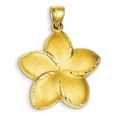 14ct Yellow Gold Satin Diamond-cut Open-Backed Large Plumeria Pendant - Measures 37x28mm