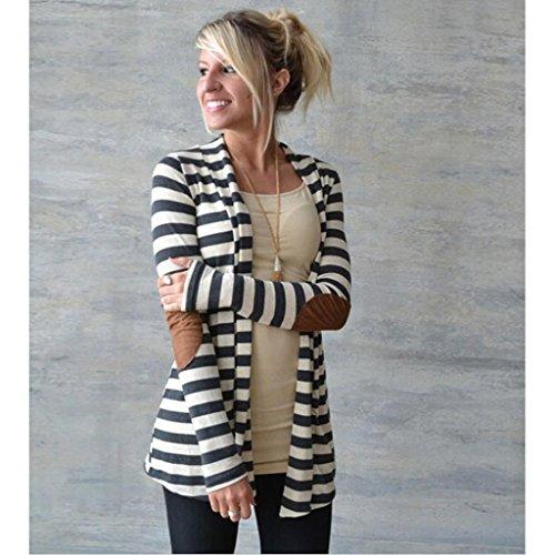 Cardigan Femme ,LMMVP Automne Hiver Femmes Décontractée Manches Longues Cardigans rayés Patchwork Manteau Outwear blanc