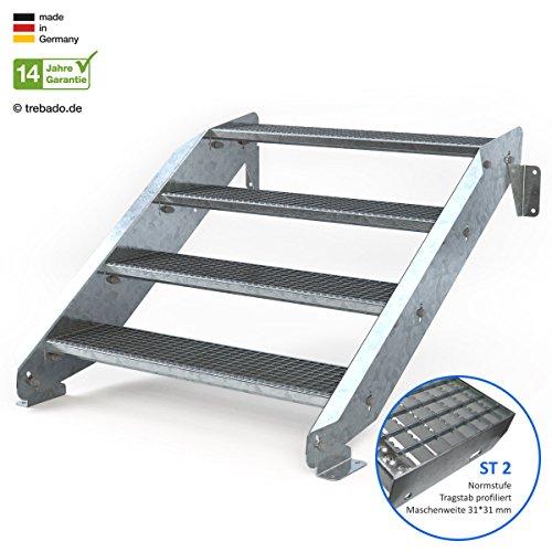 Außentreppe 4 Stufen 100 cm Laufbreite - ohne Geländer - Anstellhöhe variabel von 62 cm bis 84 cm - Gitterroststufe ST2 - feuerverzinkte Stahltreppe mit 1000 mm Stufenlänge als montagefertiger Bausatz