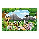 Bilderwelten Vliestapete Premium - Wilde Dschungeltiere - Fototapete Breit Vlies Tapete Wandtapete Wandbild Kindertapete 3D Fototapete, Größe HxB: 255cm x 384cm