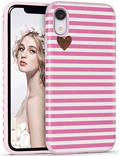 Imikoko Hülle für iPhone XR Hülle Rosegold Punkt Rosa R&umschutz Handyhülle Schutzhülle Weich Silikon TPU Case Streifen Super Sweet Cute für Girl Frauen Mädchen