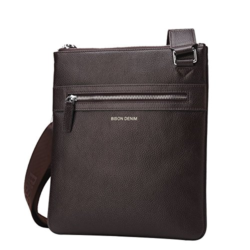 BISON DENIM Kleine Umhängetasche für Herren Leder Schultertasche Messenger bag (Coffee) (Cross Body Leder Messenger)