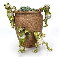 JYCRA 4 Piezas de Ranas de Escalada de Dibujos Animados, Creativas Minifiguras de Rana para decoración de macetas para Oficina, Escritorio, hogar, jardín, Maceta