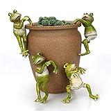 JYCRA 4 Pezzi Rane rampicanti, Mini Rana, Ornamenti creativi in Vaso per Ufficio, scrivania, casa, Giardino, Decorazione per vasi