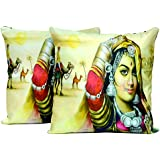2pcs Multicolor Silk Pillow Covers Indian Traditional Women Digital Print Cushion Covers