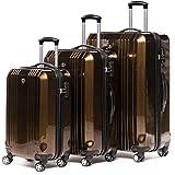 FERGÉ Kofferset 2-teilig Hartschale 55 cm Cannes Handgepäck & XL Koffer Trolley-Hartschalenkoffer Set 4 Rollen 100% ABS & PC blau