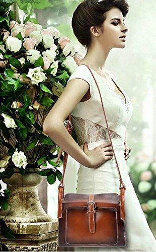 MYLL Damen Handtaschen Einfache Art Und Weise Kleine Quadratische Packung Große Kapazitäts-Retro-Öl-Wachs-Leder Schulter Messenger Bag Brown