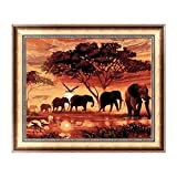 WOBANG 5D Stickerei Gemälde Strass eingefügt ❣❣ Sonnenuntergang Elefant und Hund Runde Diamant DIY Malerei Kreuzstich aufgerollt Bild Wandaufkleber Home Decor (Colorful, A (40 * 30 cm))