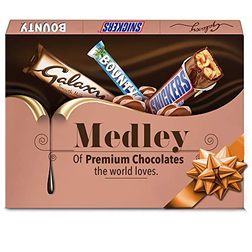 Gifting Medley Assorted Chocolates Rakhi Gift Pack (Snickers 15g + Snickers 25g + Galaxy 19.1g + Bounty 28.5g) Pouch, 102 g