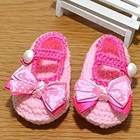 Museya Cute Cartoon Bowknot Style bébé enfant en bas âge nouveau-né pour bébés filles laine tricoté à la main au Crochet Crib Shoes (rose)