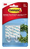Command Medium Hooks with Strips - Clear, set of 2