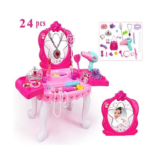 SUUKI Trucchi Bambina, Specchiera Bambina con 24 Accessori, Toeletta Giocattoli Bambina con Set Parrucchiera Bambina… 1 spesavip