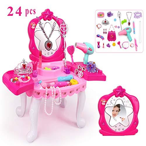 Suuki trucchi bambina, specchiera bambina con 24 accessori, toeletta giocattoli bambina con set parrucchiera bambina, idee regalo ragazza, giocattoli bambino 3 anni
