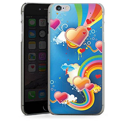 Apple iPhone X Silikon Hülle Case Schutzhülle Herz Love Regenbogen Bunt Hard Case anthrazit-klar