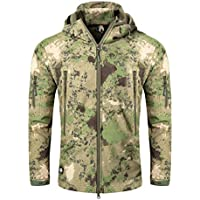 17e18e2b110a5 Hongbest Giacca Tattica Militare da Combattimento Softshell Giacca da  Campeggio Esterna da Trekking Camouflage con Cappuccio