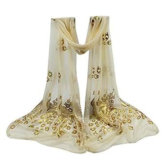 Foulards,LEvifun Foulard Femme Chic Mousseline de soie Fleur de Paon ... 1fdd0dffeec