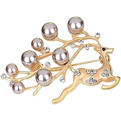 Contever® Elegante Broche y Pin Con Cristales y perlas En Forma de Elk Para Boda Fiesta